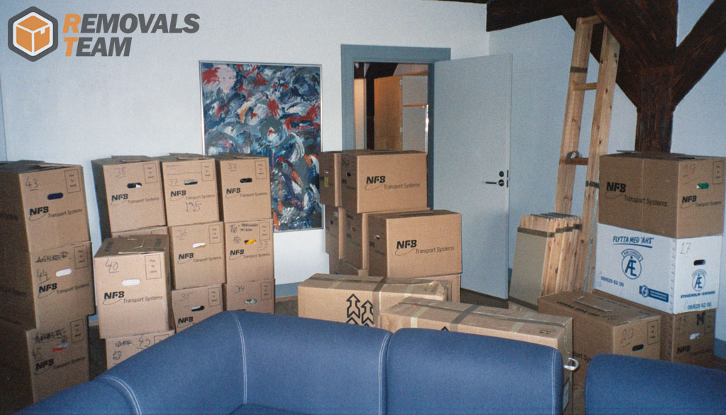 Boxes packed for moving