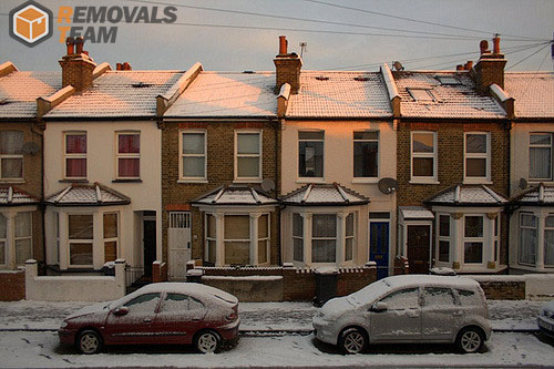 London suburb in winter